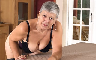 Naughty big breasted British housewife bringing off with herself