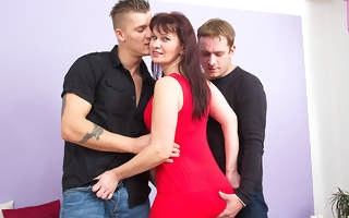 naughty housewife fucking two guys at even Steven up to time