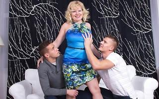 Horny mature slut sucks and fucks two guys
