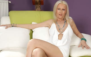 Blonde housewife playing give her toys