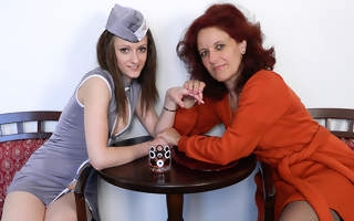 Hot stewardess doing a grown up of a female lesbian traveller