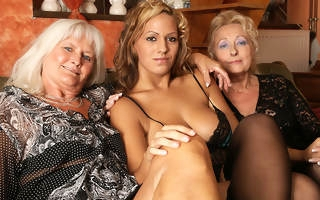 Hot babe doing two mature lesbians handy once