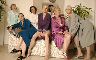 Adult women relaxing in a sauna