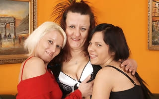 Two mature lesbians patch a hot babe in arms