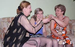 Two mature lezzies experience a hot cherry babe