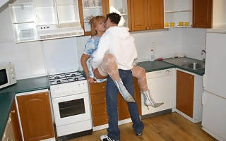 Sultry housewife fucking in her kitchen
