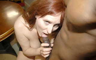 Horny red mature old bag property fucked by a hard black cock