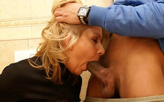 She licks ass fucks and sucks exposed to a public toilet