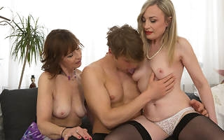Two mature housewives allotment their toyboys cock