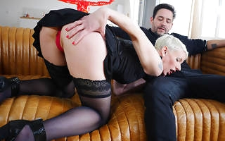 Sexy French Milf sucks a big bushwa coupled with takes it to her ass