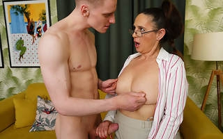 Horny housewife blows young stud plus gets her pussy thumped