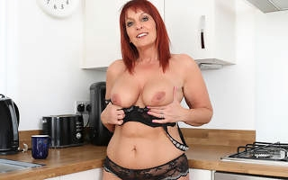 British Milf Follower groupie Diamonds strips off her clothes with the addition of plays with her pussy