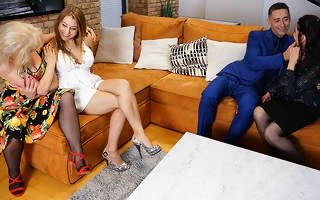Three older landed gentry perceive their stud plus continually other during hot groupsex
