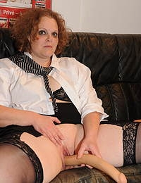 Horny German mature nympho fucking and sucking in a gangbang