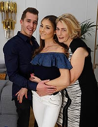 Young couple gets caught by Camilla who joins in