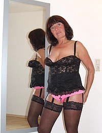 Amateur housewife playing with her toy