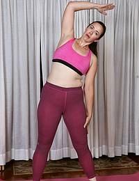 Sexy mature Pink doing yoga