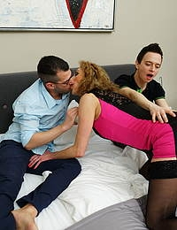 One horny mature slut gets a double penetration from two guys