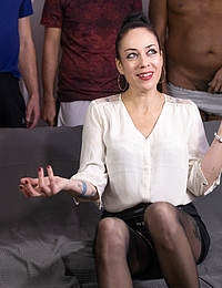 Mature Adeline Lafouine gets anally fucked by a large group of men in this horny gang bang