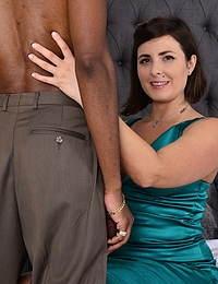 Hot hairy MILF goes interracial