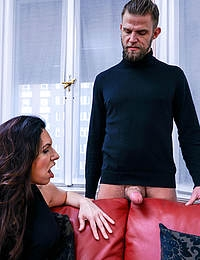 Big breasted Josephine James squirts and rides and sucks a hard cock