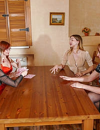Four pussyloving housewives get naked and get wild