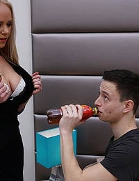 Naughty mature Miss Loly is having fun with an innocent toy boy