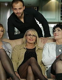 Three mature ladies catching  a guy watching porn and join in