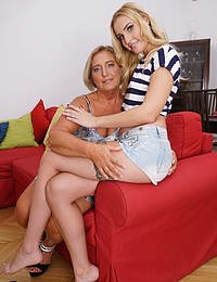 Naughty old and young lesbians make out in bed
