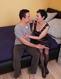 Naughty mature lady having fun with her younger lover