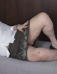 Horny mature BBW masturbating