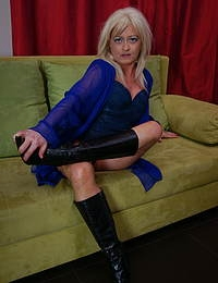 Blonde European housewife getting ready to be dirty