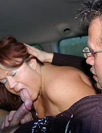Horny chubby MILF sucking cocks in a car
